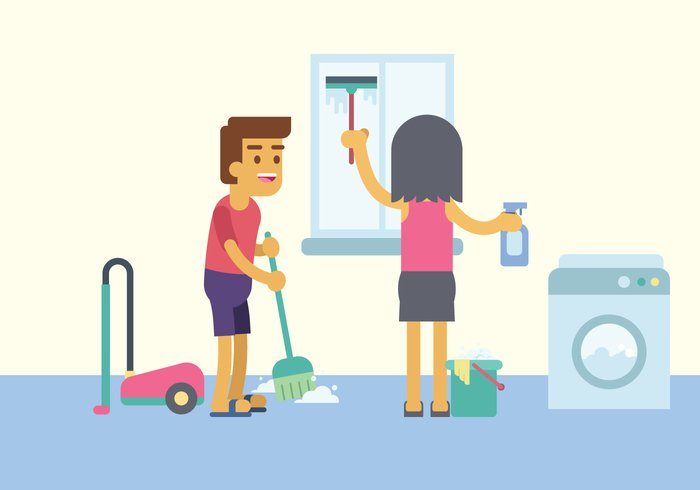 Man and woman cleaning happily