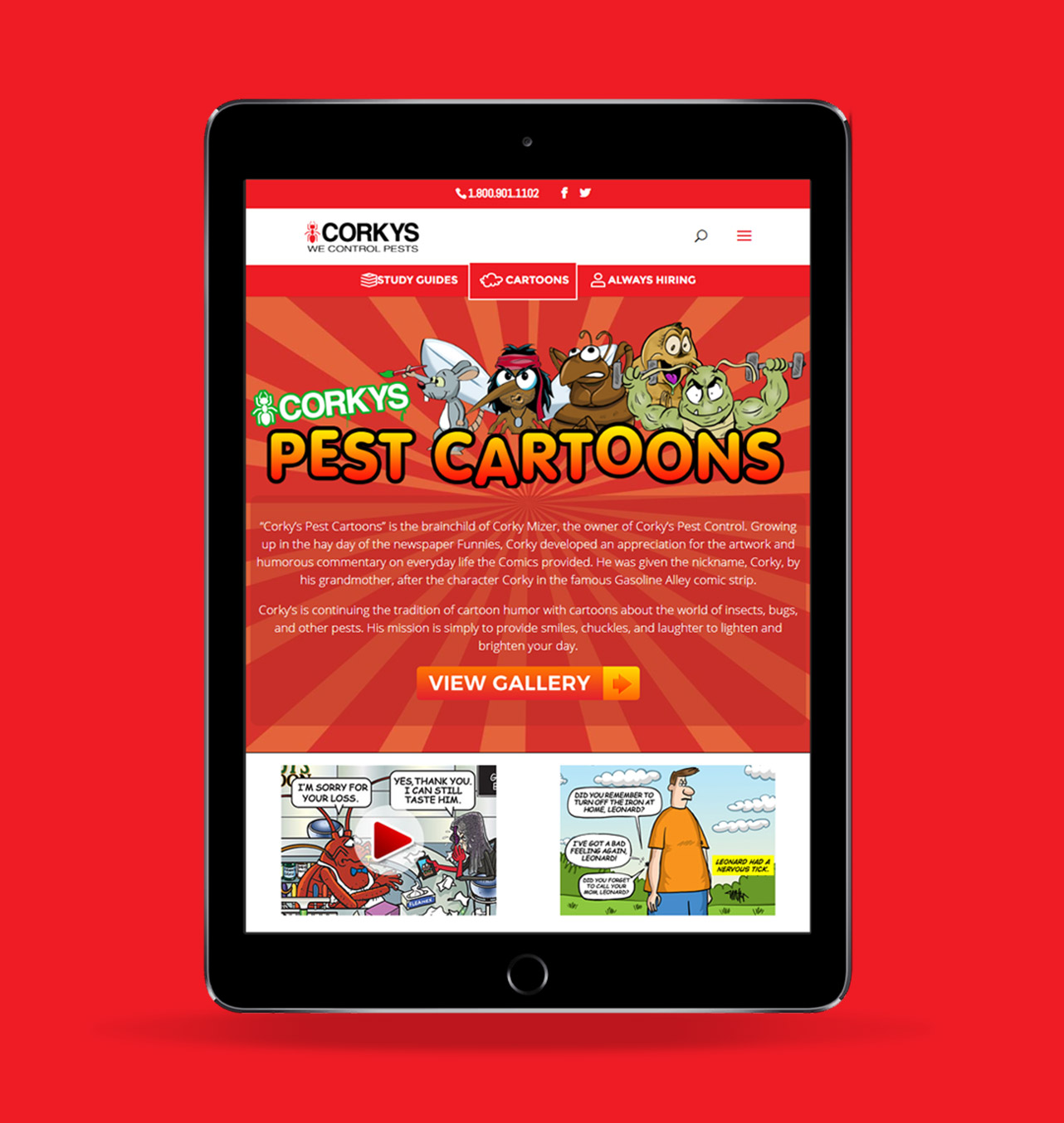 Corky's Pest Control website