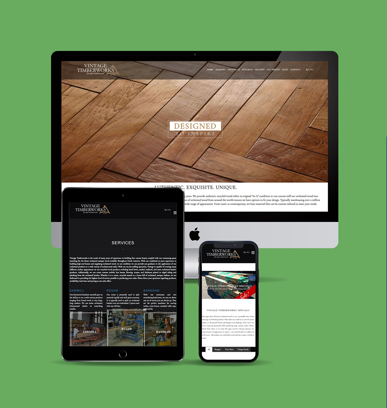 Vintage Timberworks website