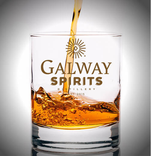 Galway Spirits labeled glass