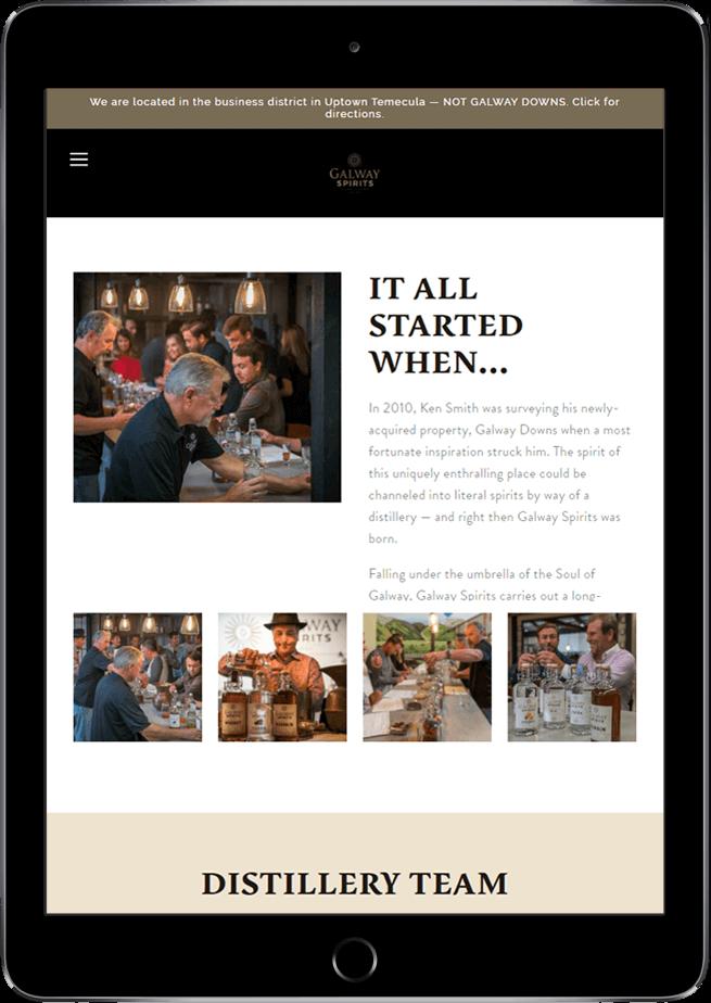 Galway Spirits website on tablet
