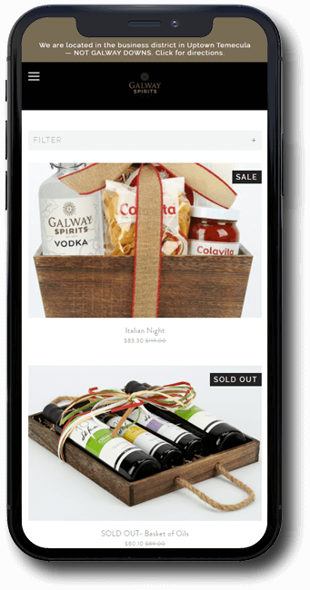 Galway Spirits website on mobile