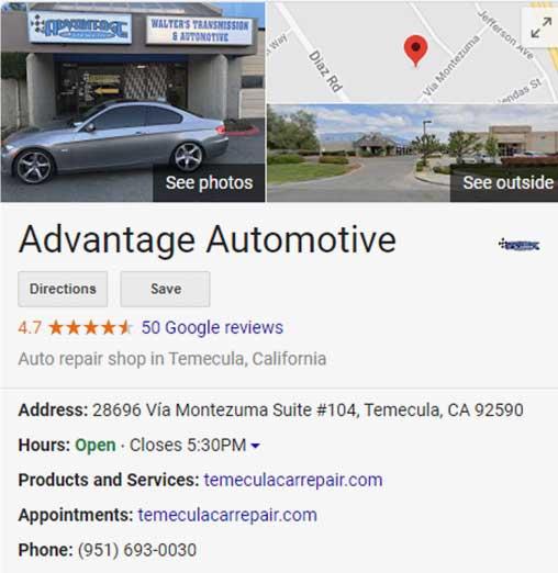 Advantage Automotive Google My Business listing