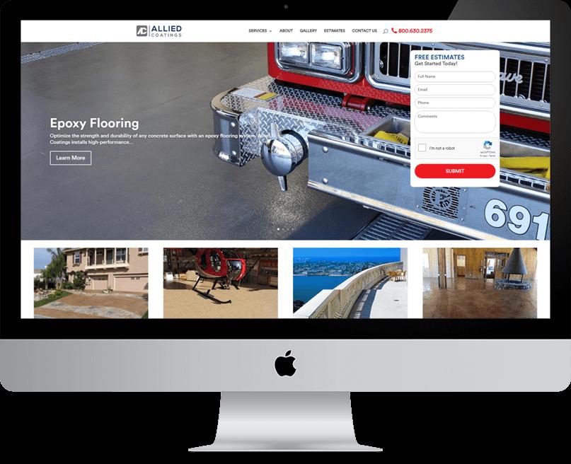 Allied Coatings website on desktop