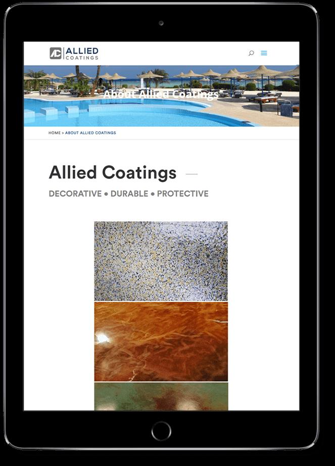 Allied Coatings website on tablet