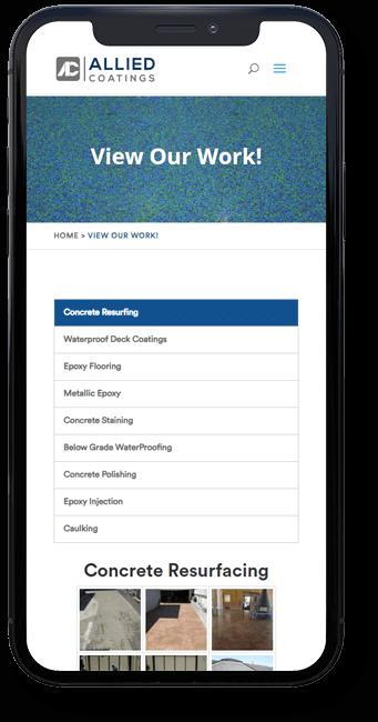 Allied Coatings website on mobile