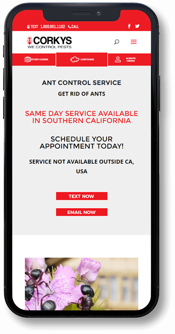 Corky's Pest Control Website on mobile