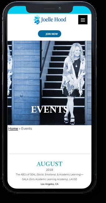 Joelle Hood Website on mobile