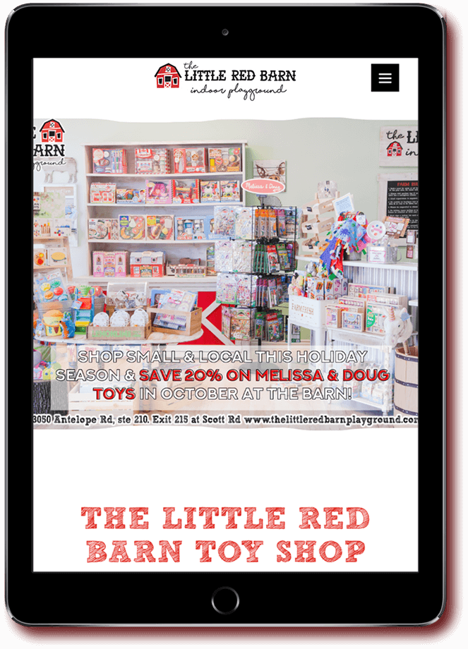 Little Red Barn website on tablet