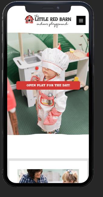 Little Red Barn website on mobile