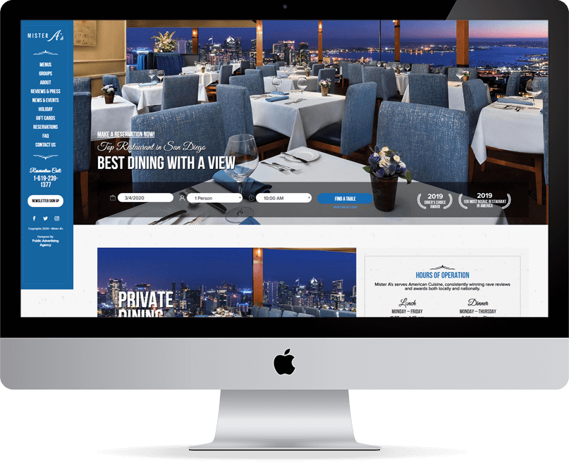 Mister A's website on desktop