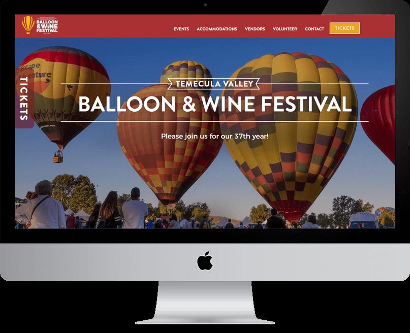 Temecula Balloon and Wine Festival website on desktop