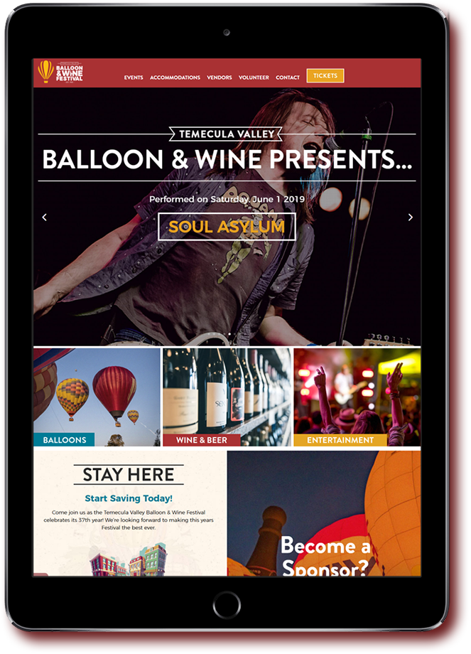 Temecula Balloon and Wine Festival website on tablet