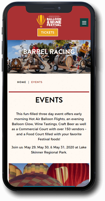 Temecula Balloon and Wine Festival website on mobile