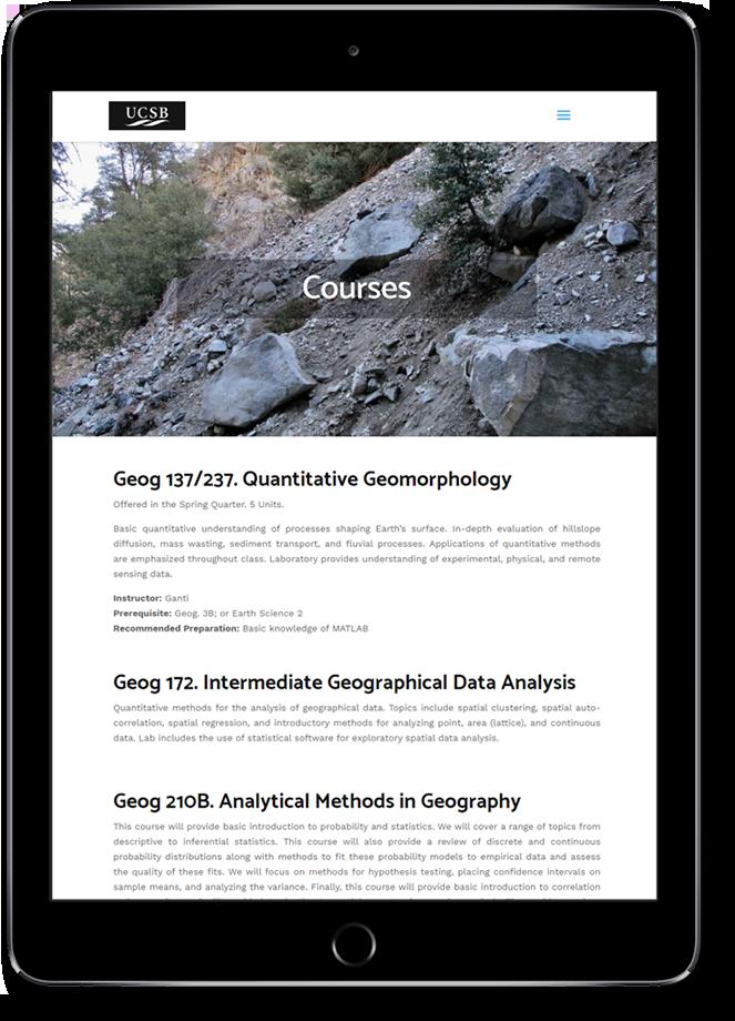 USCB website on tablet