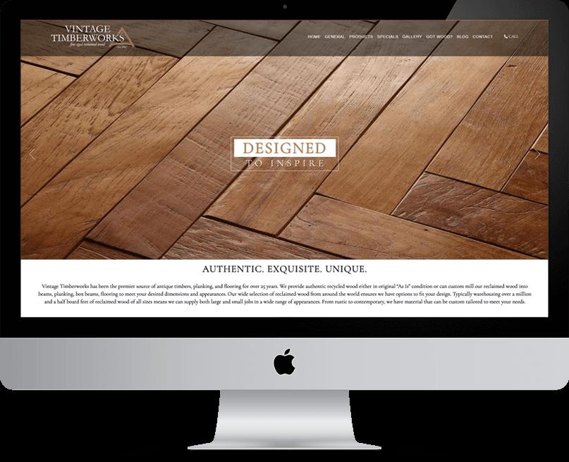 Vintage Timberworks website on desktop