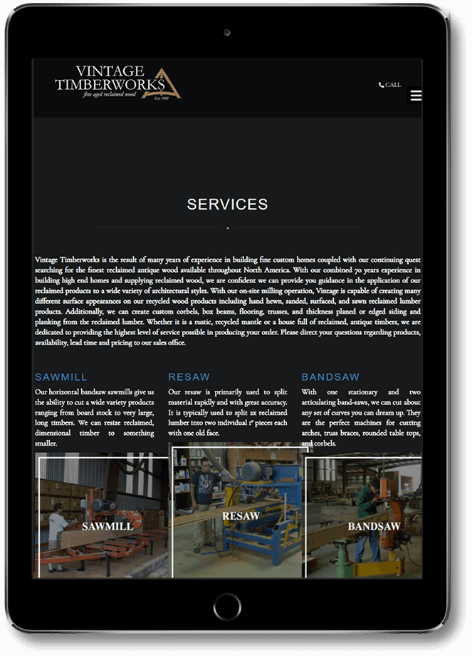 Vintage Timberworks website on tablet