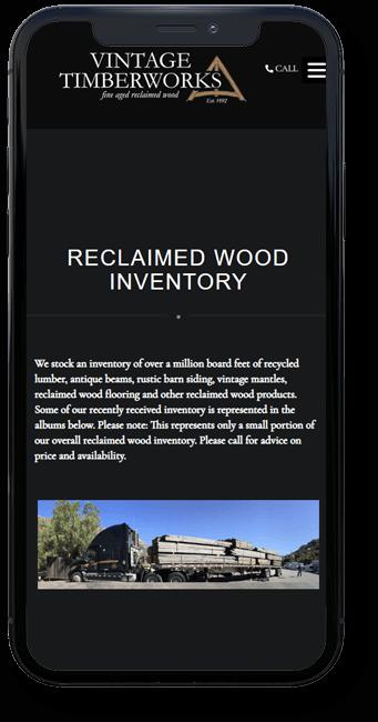 Vintage Timberworks website on mobile