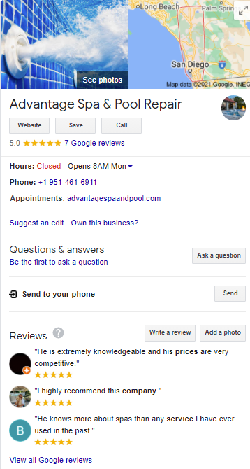 Advantage Spa Google My Business